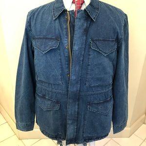 NEW Military Jacket INDIGO Denim L Cotton Lightwei